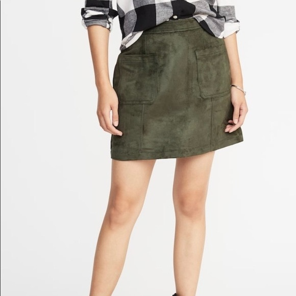 Old Navy Dresses & Skirts - [Old Navy] Faux Suede Aline Olive Green Skirt - 0